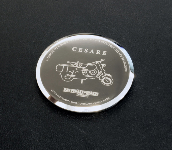 Cesare's special built scooter featured on case back