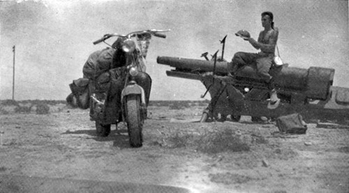 Sahara desert, an old rusty cannon and a recall the terrible Battle of El Alamein